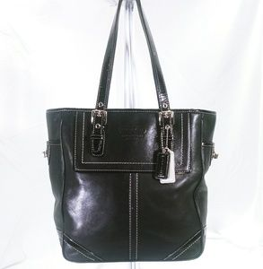 Coach Hamptons Black Leather Tote Bag